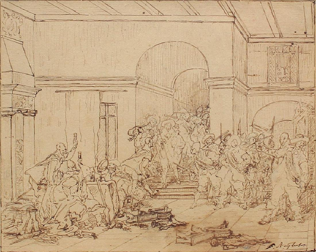 FERDINAND ROYBET DRAWING OF A RAUCOUS INTERIOR SCENE