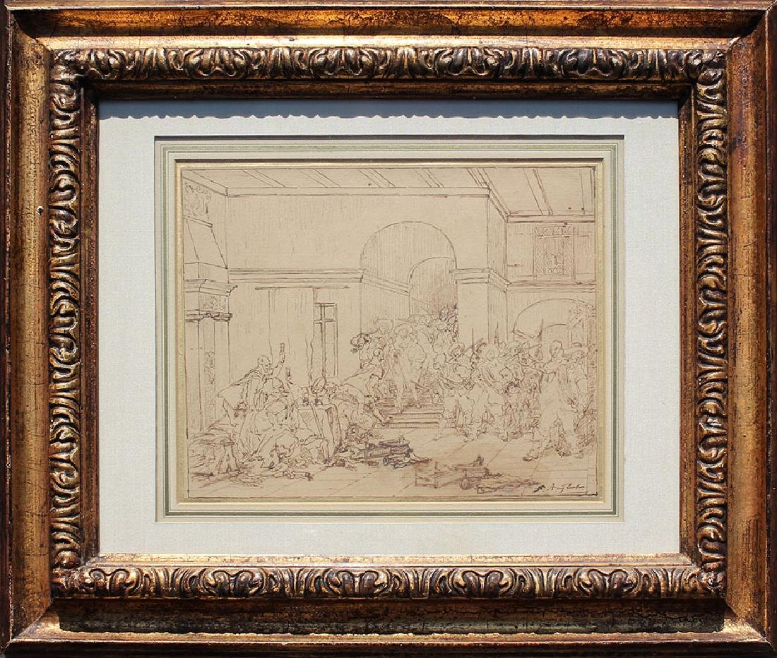 FERDINAND ROYBET DRAWING OF A RAUCOUS INTERIOR SCENE - 2
