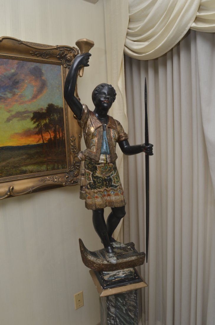 POLYCHROME PAINTED CARVED BLACKAMOOR FIGURE - 3