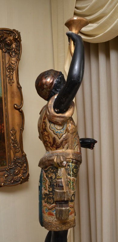 POLYCHROME PAINTED CARVED BLACKAMOOR FIGURE - 5