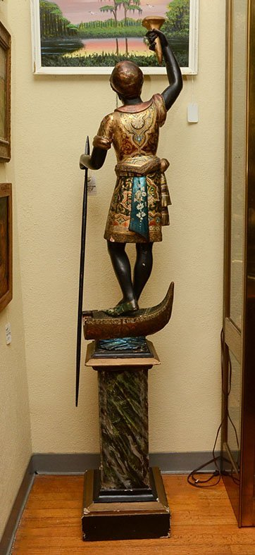 POLYCHROME PAINTED CARVED BLACKAMOOR FIGURE - 6