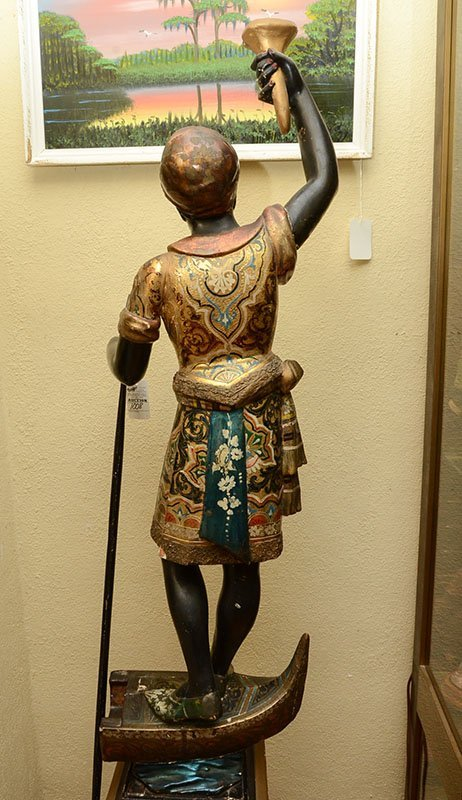 POLYCHROME PAINTED CARVED BLACKAMOOR FIGURE - 7