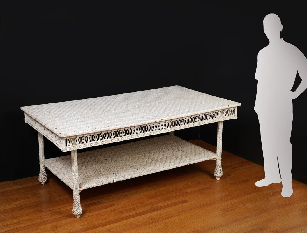 LARGE ANTIQUE WHITE WICKER DINING TABLE