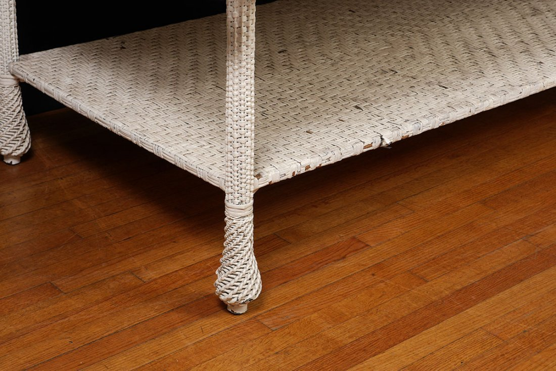 LARGE ANTIQUE WHITE WICKER DINING TABLE - 2