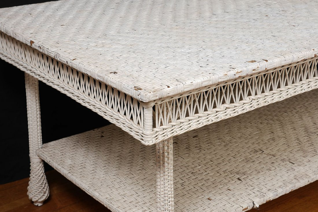 LARGE ANTIQUE WHITE WICKER DINING TABLE - 3