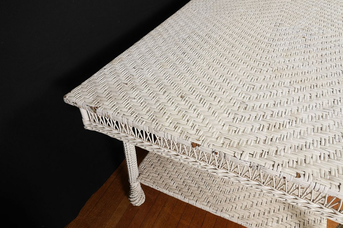 LARGE ANTIQUE WHITE WICKER DINING TABLE - 5