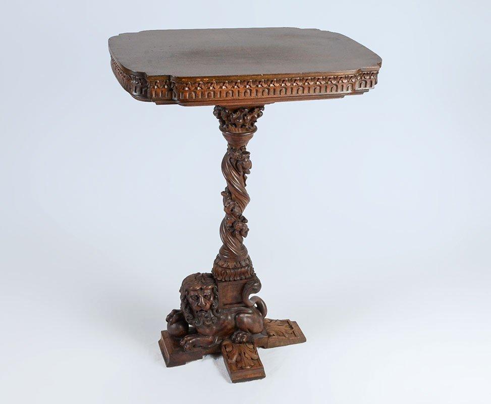 RENAISSANCE REVIVAL CARVED CHERUB SIDE TABLE