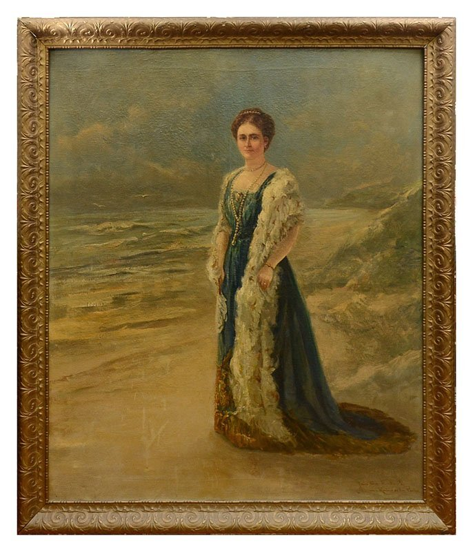 LARGE JAN TEN KATE PORTRAIT PAINTING OF A QUEEN - 2