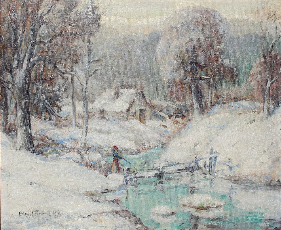 ILLEGIBLY SIGNED WINTER LANDSCAPE PAINTING