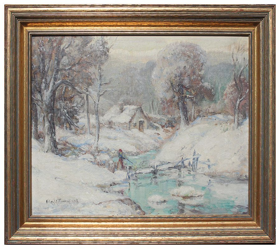 ILLEGIBLY SIGNED WINTER LANDSCAPE PAINTING - 2