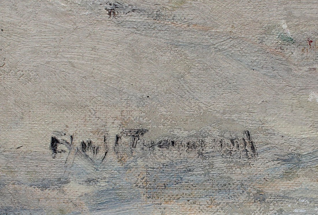 ILLEGIBLY SIGNED WINTER LANDSCAPE PAINTING - 3