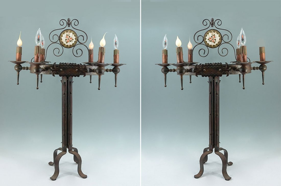 PAIR WROUGHT IRON GOTHIC REVIVAL TABLE LAMPS