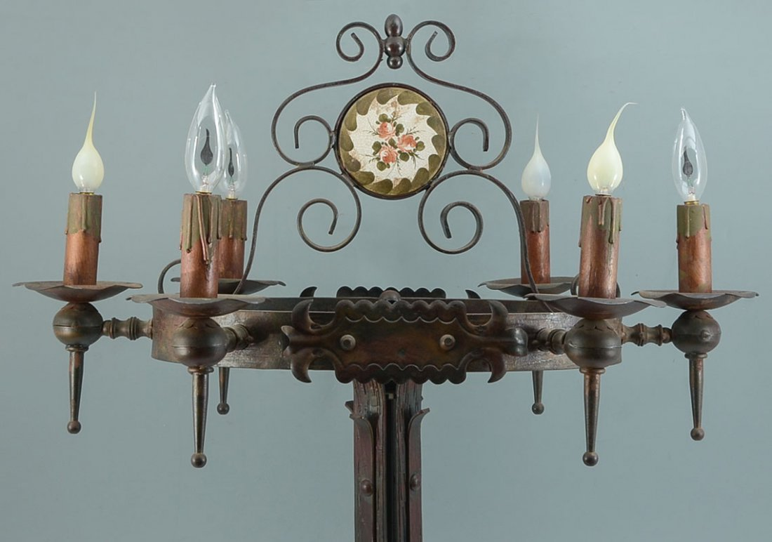 PAIR WROUGHT IRON GOTHIC REVIVAL TABLE LAMPS - 2