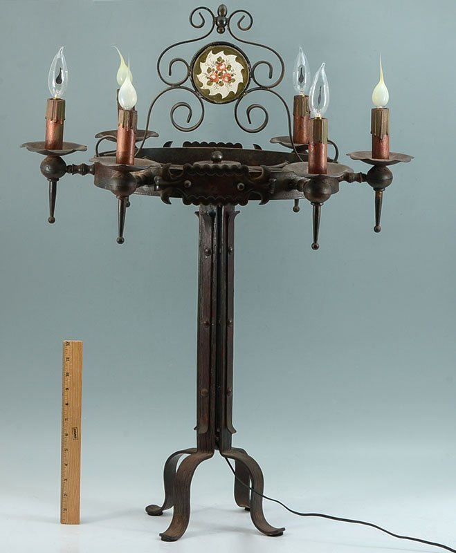 PAIR WROUGHT IRON GOTHIC REVIVAL TABLE LAMPS - 6