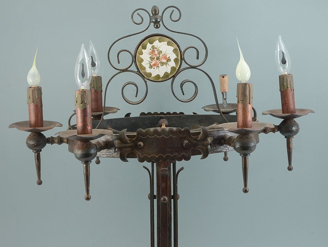 PAIR WROUGHT IRON GOTHIC REVIVAL TABLE LAMPS - 7