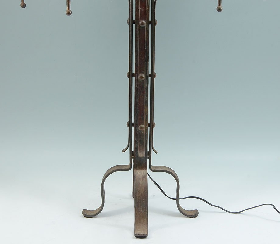 PAIR WROUGHT IRON GOTHIC REVIVAL TABLE LAMPS - 8
