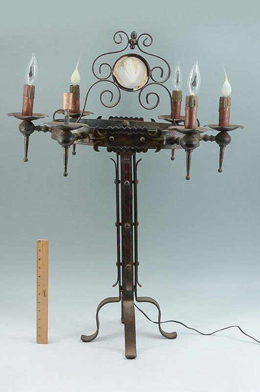 PAIR WROUGHT IRON GOTHIC REVIVAL TABLE LAMPS - 9