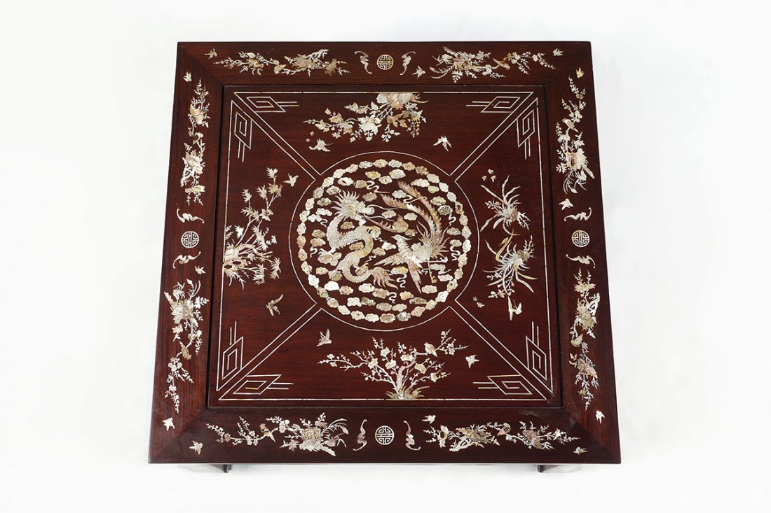 ORNATE CHINESE MOTHER OF PEARL INLAID LOW TABLE - 2