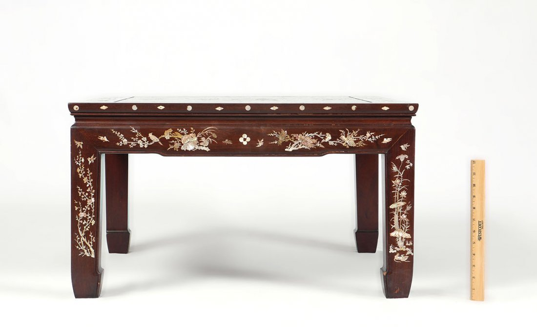 ORNATE CHINESE MOTHER OF PEARL INLAID LOW TABLE - 4