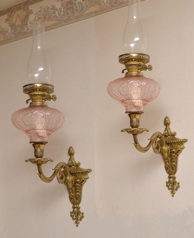PAIR BRASS RAMS HEAD WALL OIL LAMP SCONCES - 2