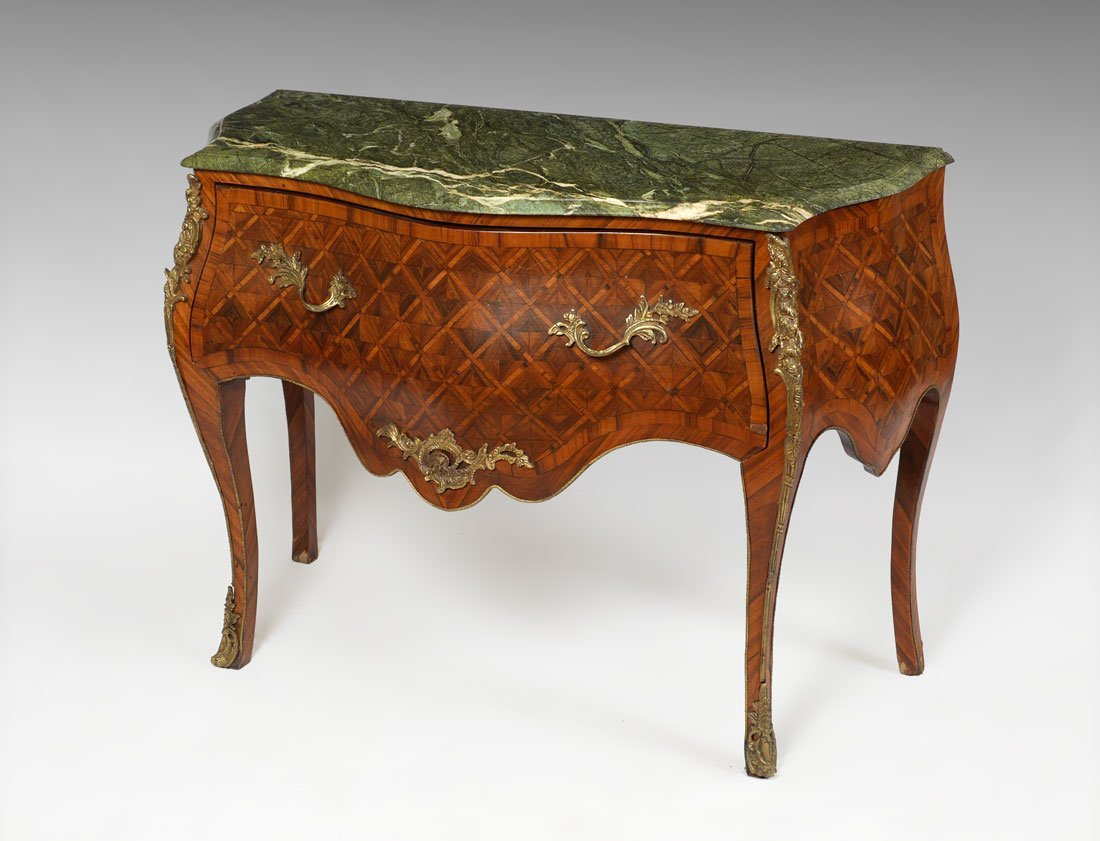MARBLE TOP PARQUETRY INLAID BOMBE COMMODE