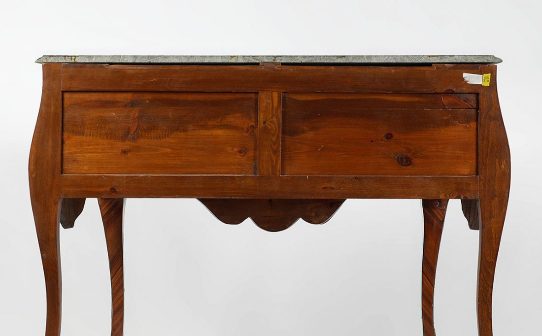 MARBLE TOP PARQUETRY INLAID BOMBE COMMODE - 5