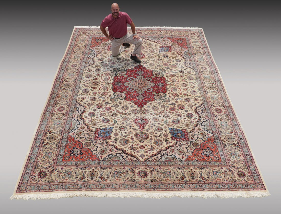 INDO-PERSIAN HAND KNOTTED WOOL RUG, 12' X 17'5""