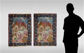 PERSIAN HK WOOL PAIR PICTORIAL RUGS EA 2 X 29
