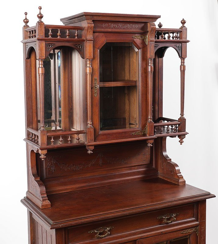 CARVED WALNUT VICTORIAN ETAGERE - 2