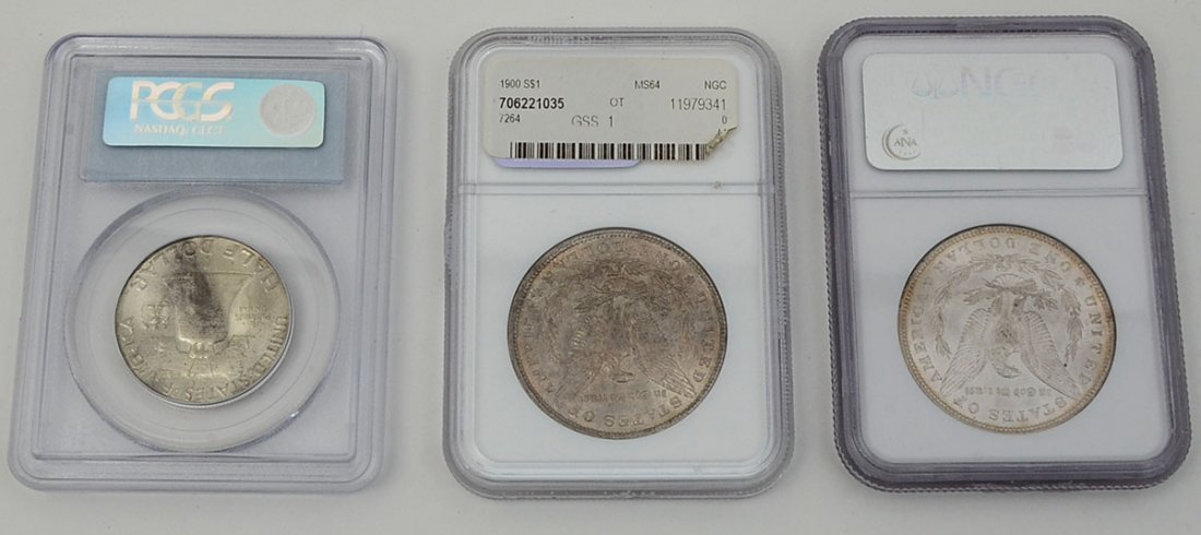 3 PIECE NGC & PCGS GRADED US SILVER COINS - 2