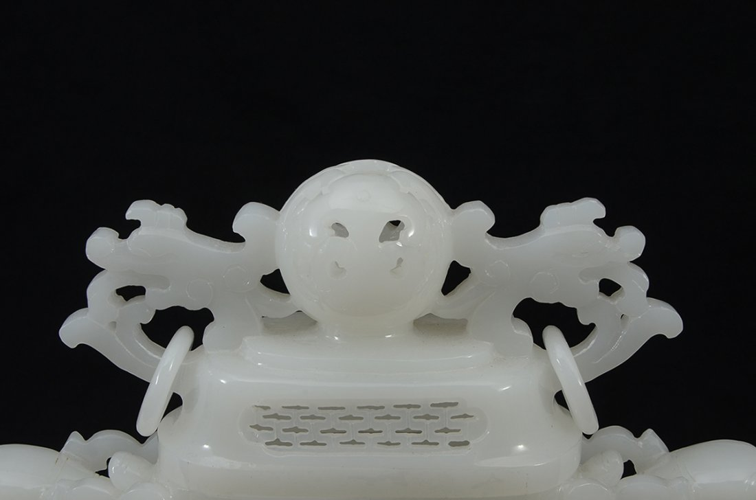 CHINESE CARVED WHITE JADE OPENWORK CENSER - 2