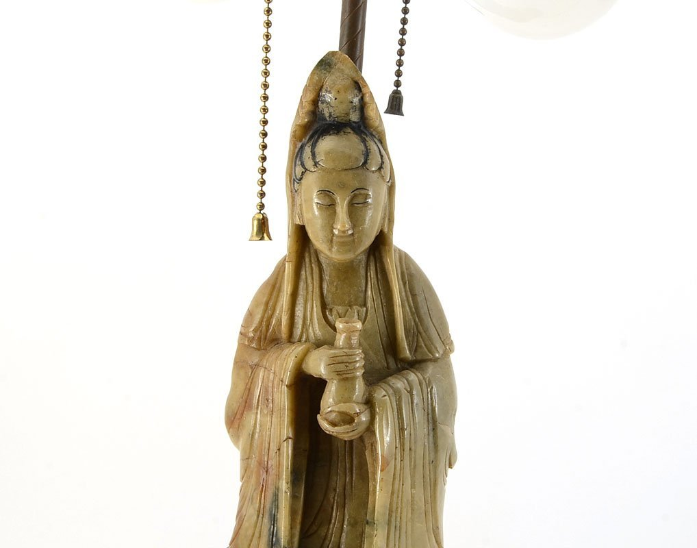 CARVED SOAPSTONE GUAN YIN FIGURAL LAMP - 2