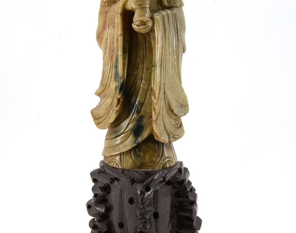 CARVED SOAPSTONE GUAN YIN FIGURAL LAMP - 3