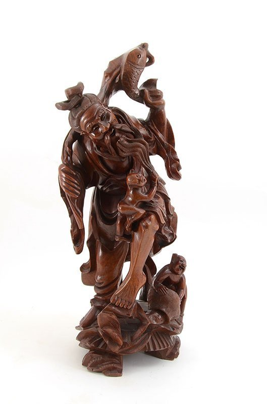 3 CHINESE CARVED WOOD FIGURES - 2
