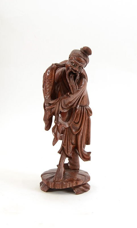 3 CHINESE CARVED WOOD FIGURES - 5