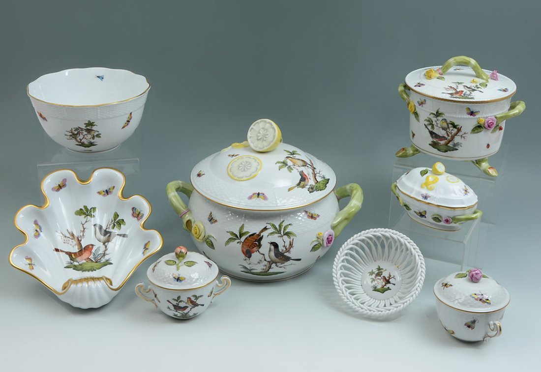 8 HEREND ROTHSCHILD SERVING PIECES WITH TUREEN