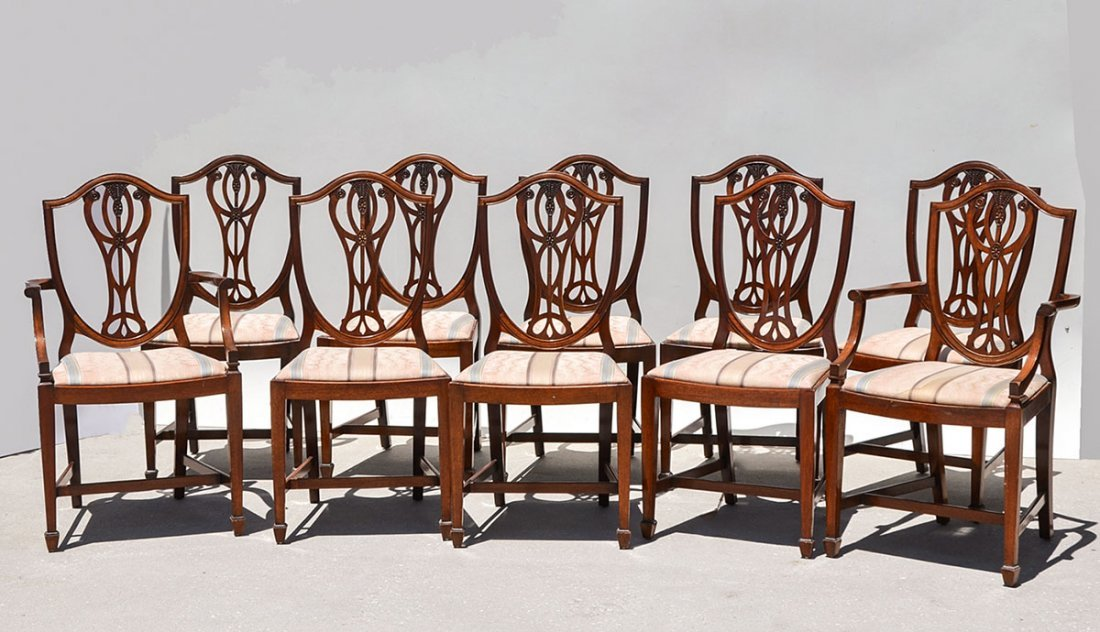 10 BERESFORD & HICKS SHIELD BACK DINING CHAIRS
