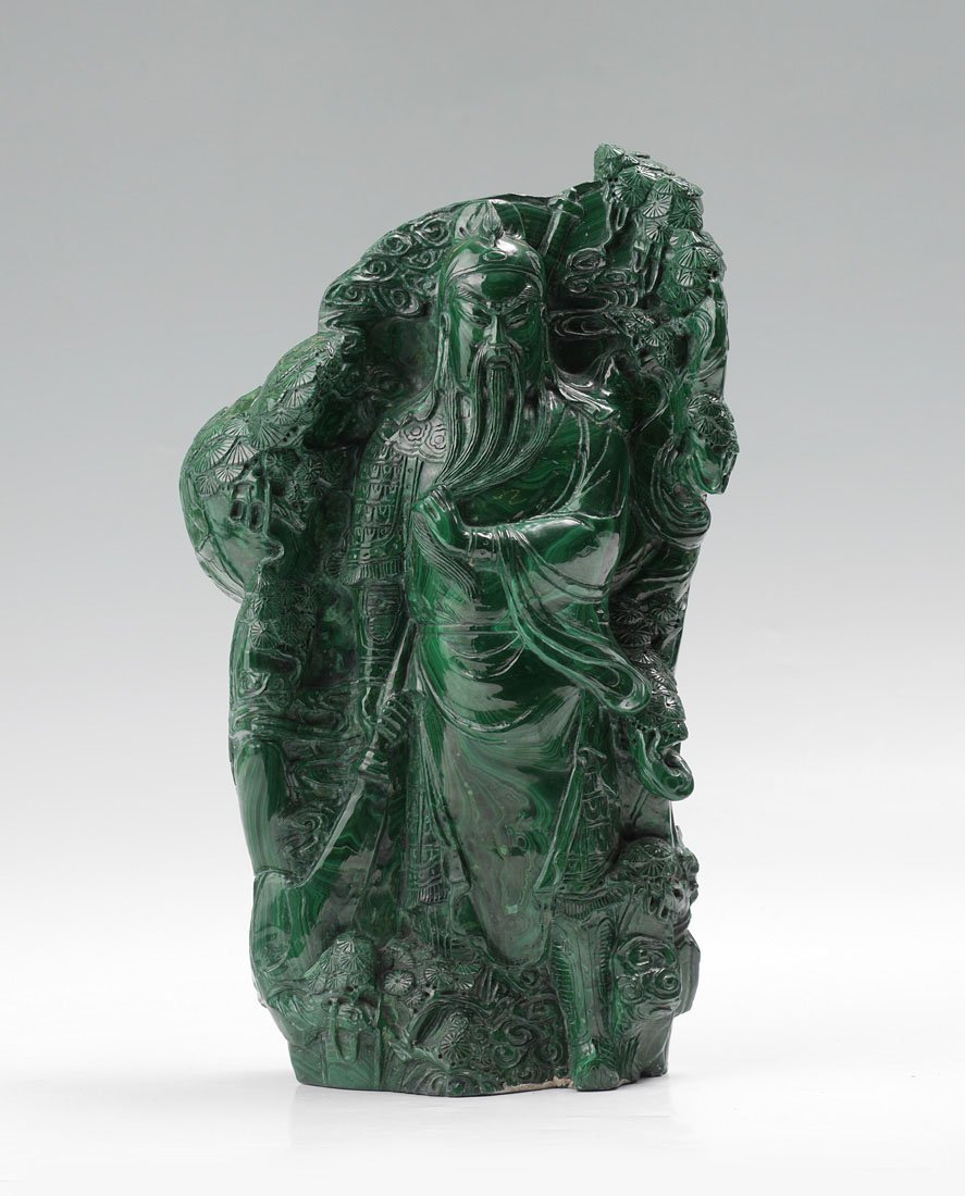 LARGE CHINESE CARVED MALACHITE WARRIOR FIGURE