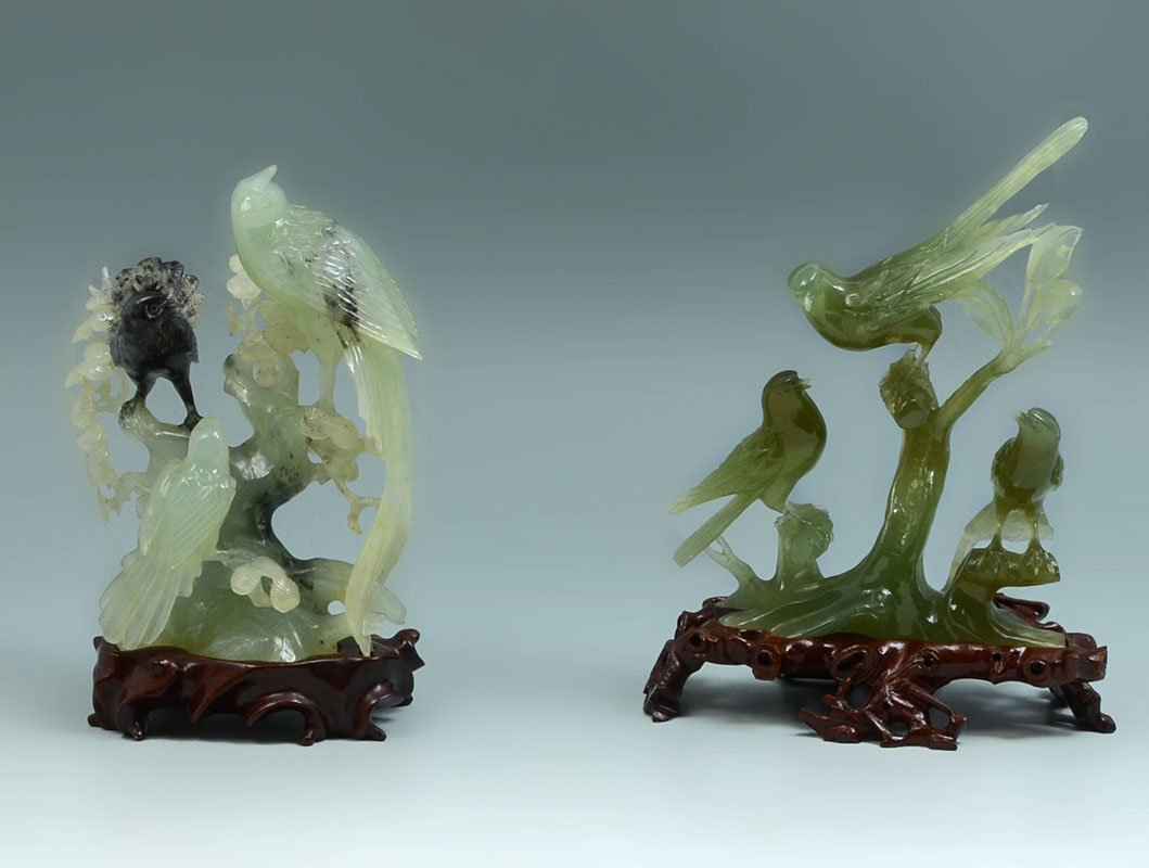 2 CARVED SERPENTINE JADE BIRD FIGURAL GROUPS