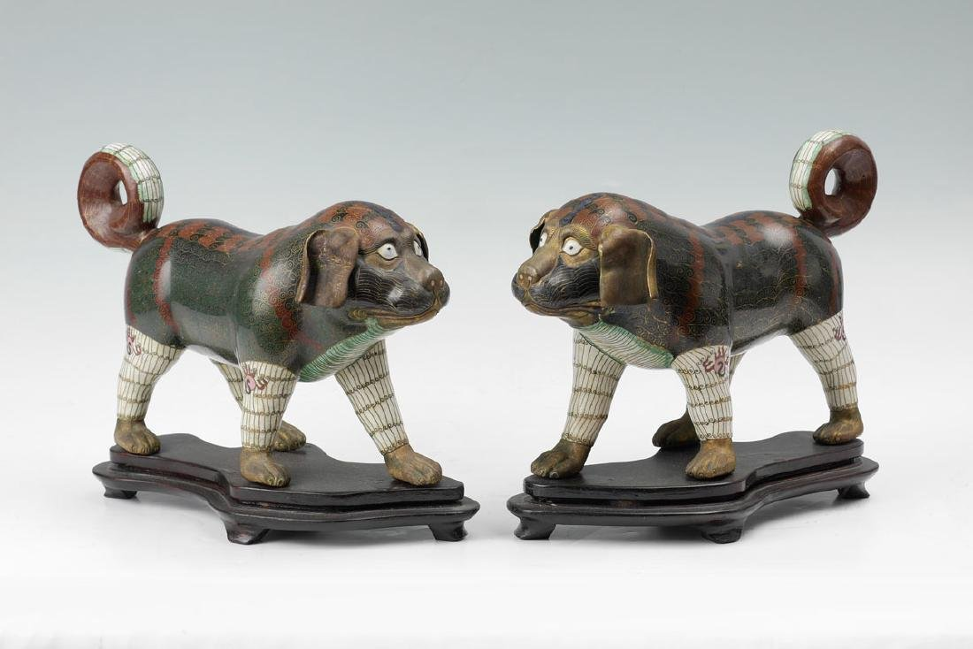 PAIR 19TH CENTURY CHINESE CLOISONNE FIGURAL DOGS