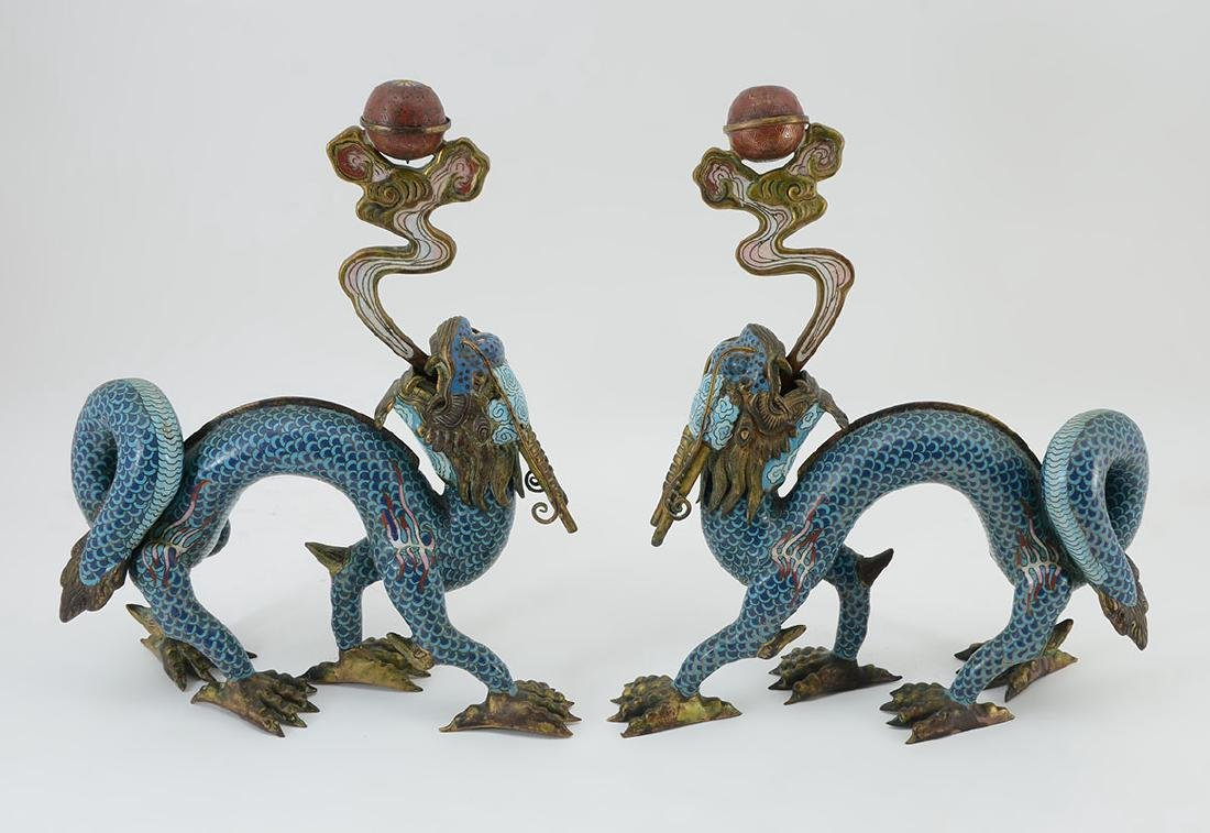 PAIR QING CHINESE CLOISONNE DRAGON INCENSE BURNERS