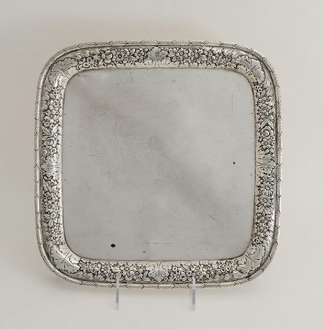 TIFFANY & CO. STERLING SILVER REPOUSSE FOOTED TRAY