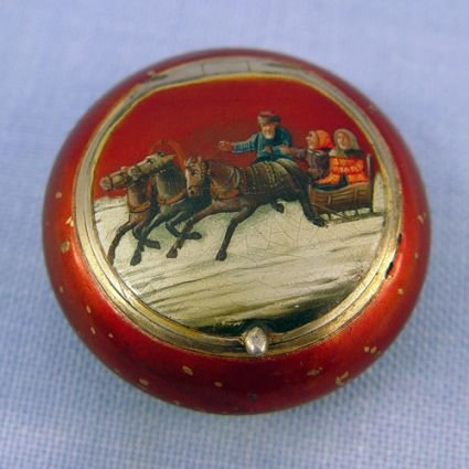 15: RUSSIAN RED LACQUER SILVER PATCH BOX