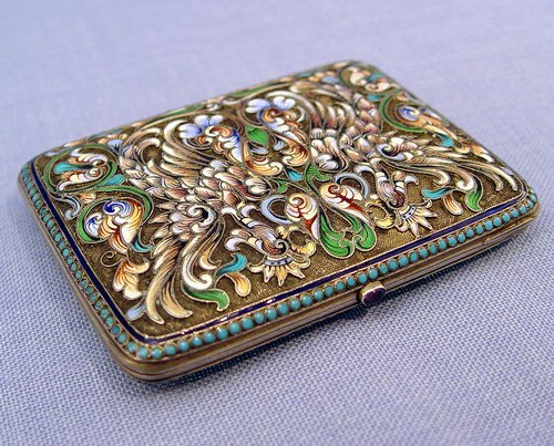 16: RUSSIAN ENAMELED SILVER CIGARETTE CASE Moscow