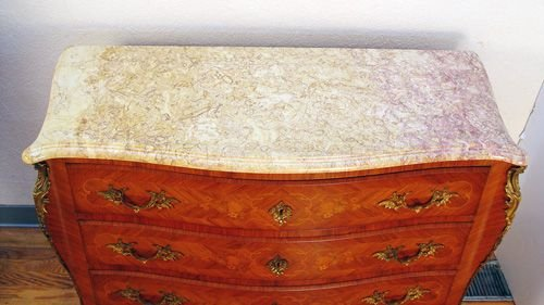 17: FRENCH 3 DRAWER MARBLE TOP COMMODE  CHEST