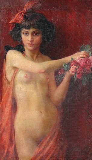 21: NUDE NYMPH WITH ROSES PAINTING BY CREMA