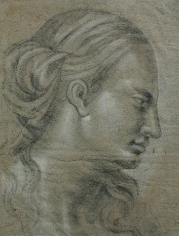 23: 19TH C. OLD MASTER DRAWING FEMALE HEAD STUDY