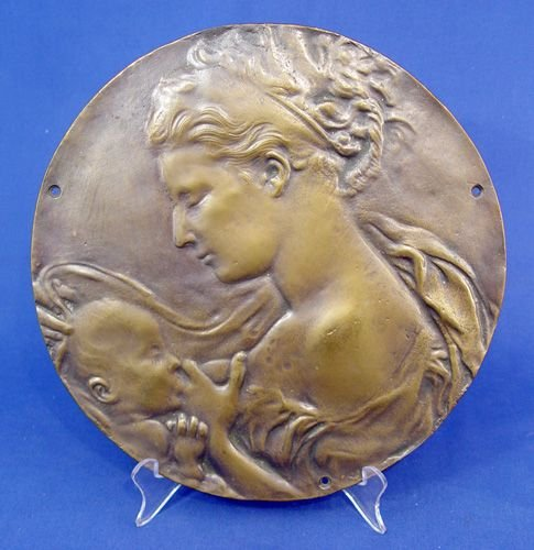 12: BRONZE PLAQUE MOTHER AND NURSING INFANT CHILD BABY