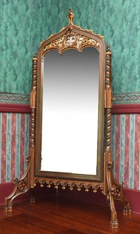 Italian Gothic Revival Cheval Mirror