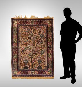 "Semi-antique Persian Hk Silk Rug, 4'5"" X 6'"